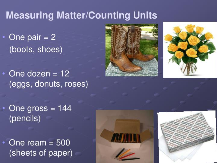 Measuring matter counting units