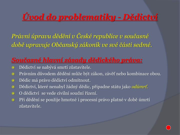 Vod do problematiky d dictv