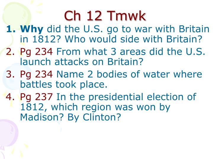 Ch 12 Tmwk