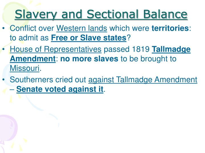 Slavery and Sectional Balance