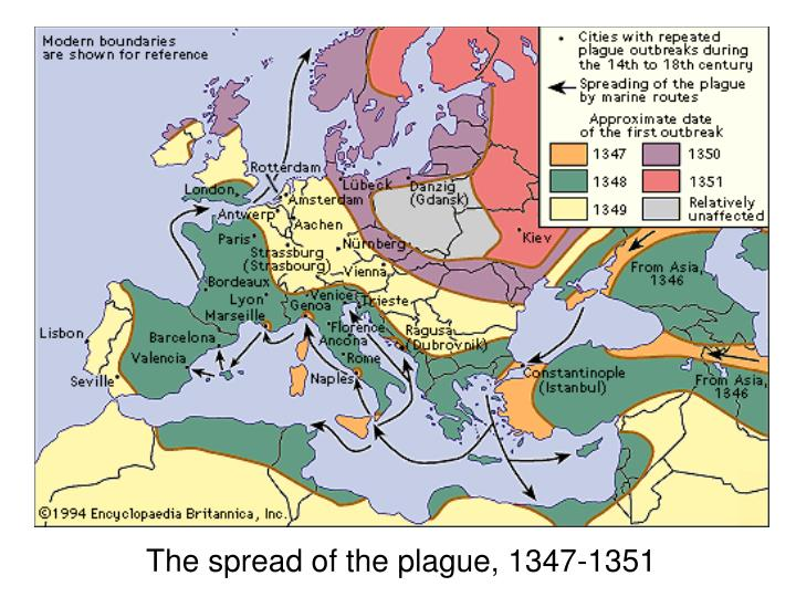 The spread of the plague, 1347-1351
