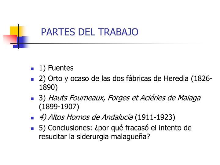PARTES DEL TRABAJO