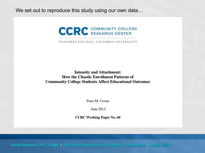 We set out to reproduce this study using our own data…
