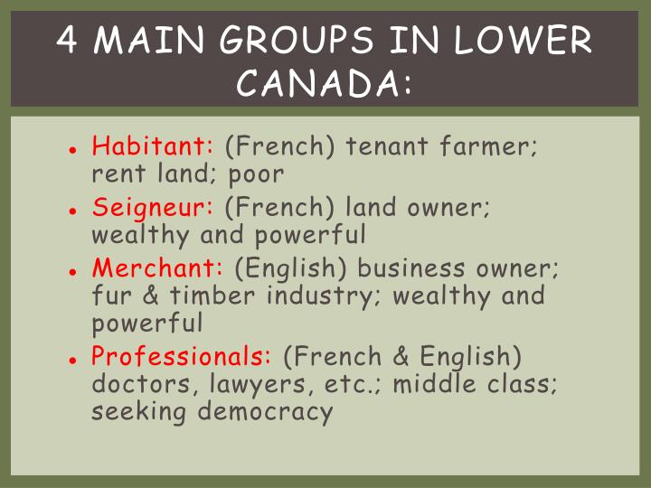 4 Main Groups in Lower Canada: