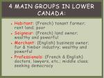 4 main groups in lower canada