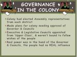 governance in the colony
