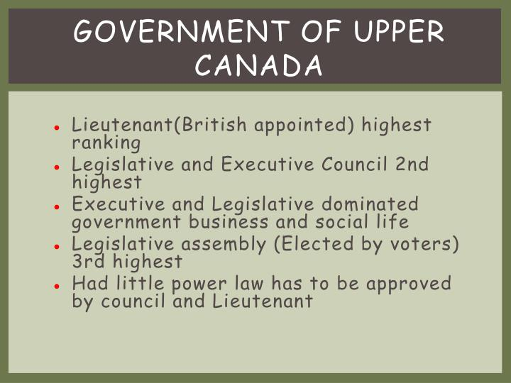 Government of upper Canada