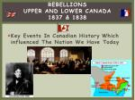 rebellions upper and lower canada 1837 1838