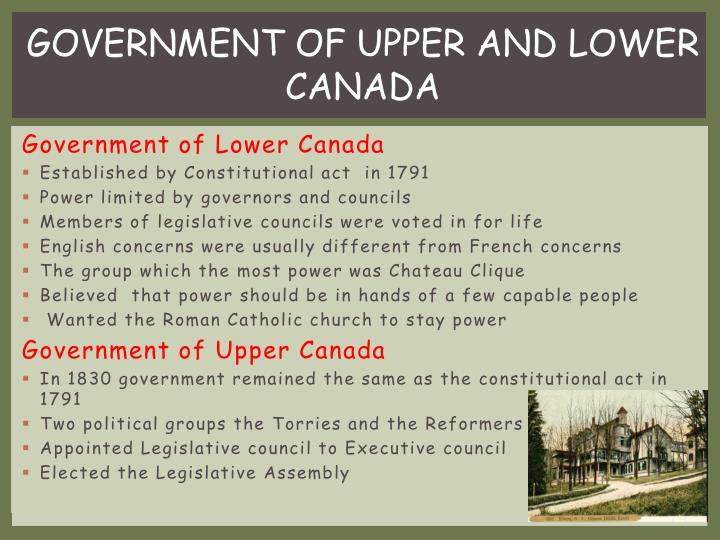 GOVERNMENT OF UPPER AND LOWER CANADA