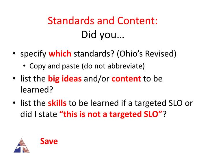 Standards and Content