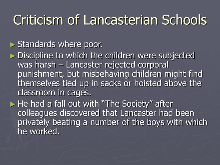 Criticism of Lancasterian Schools