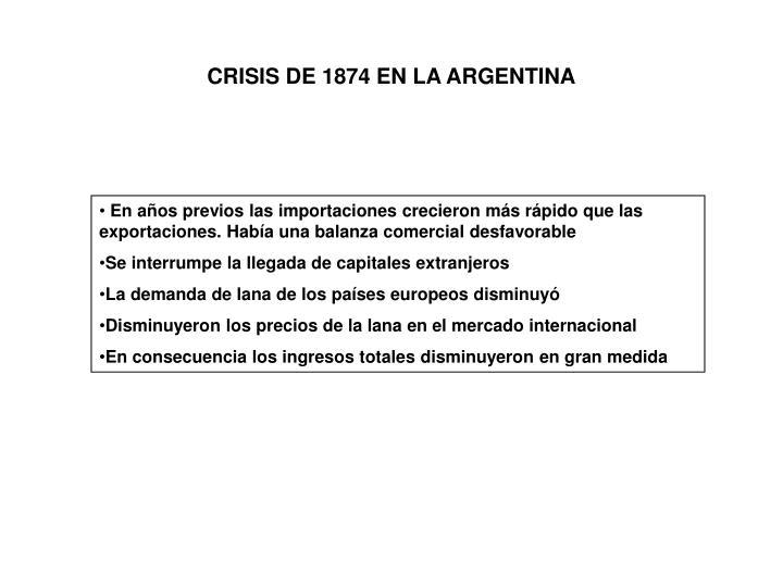 CRISIS DE 1874 EN LA ARGENTINA