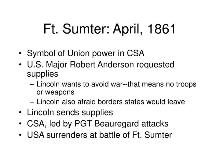 Ft. Sumter: April, 1861