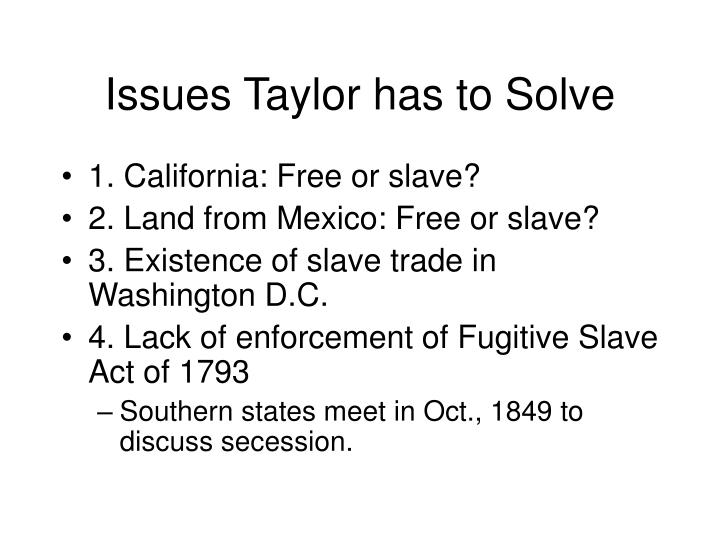 Issues Taylor has to Solve
