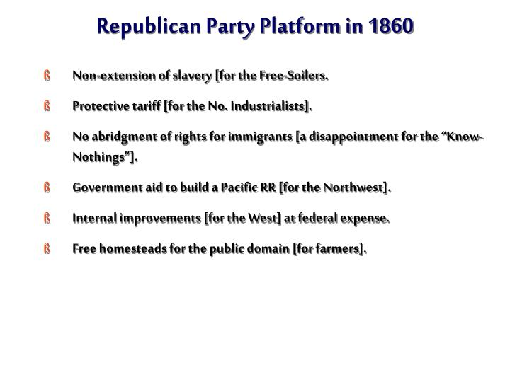 Republican Party Platform in 1860