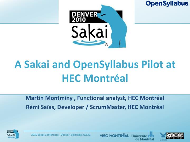 A sakai and opensyllabus pilot at hec montr al