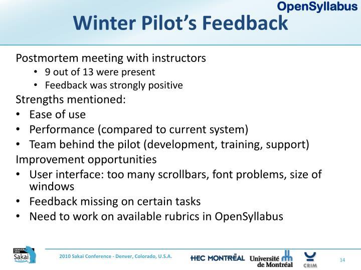 Winter Pilot's Feedback