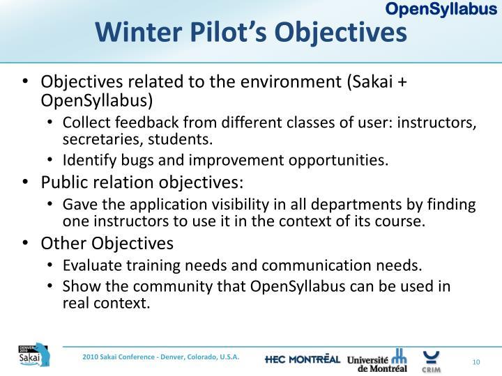 Winter Pilot's Objectives