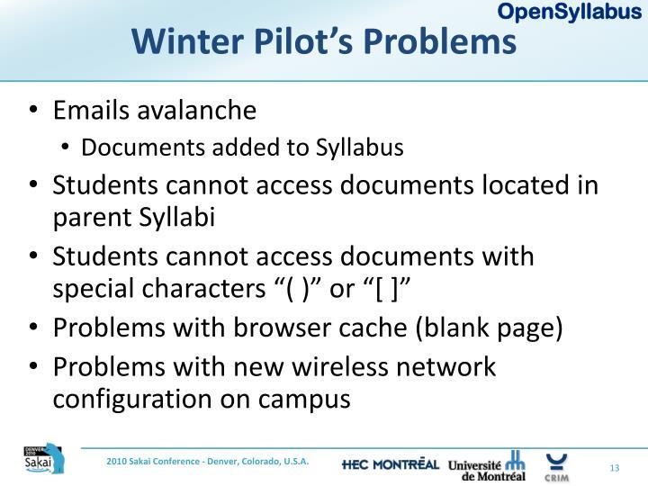 Winter Pilot's Problems