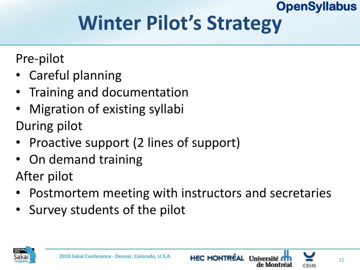 Winter Pilot's Strategy