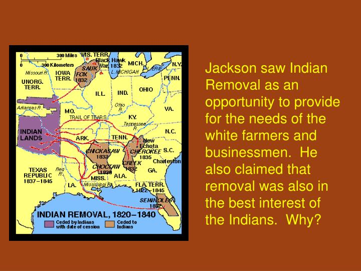 Jackson saw Indian Removal as an opportunity to provide for the needs of the white farmers and businessmen.  He also claimed that removal was also in the best interest of the Indians.  Why?