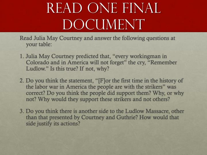 Read one final document
