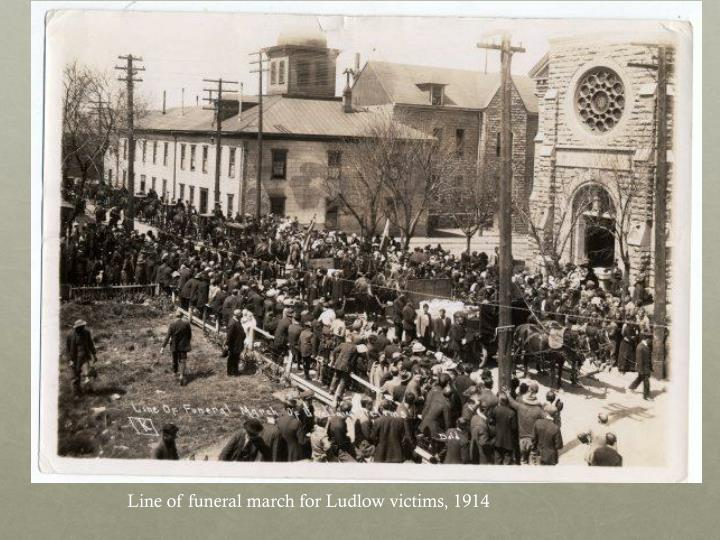 Line of funeral march for Ludlow victims, 1914