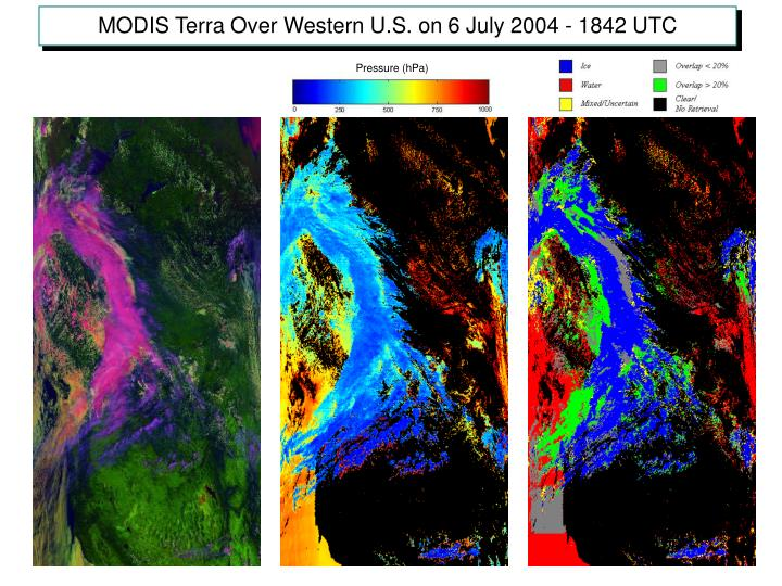 MODIS Terra Over Western U.S. on 6 July 2004 - 1842 UTC