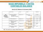 base imponible y datos contables balance