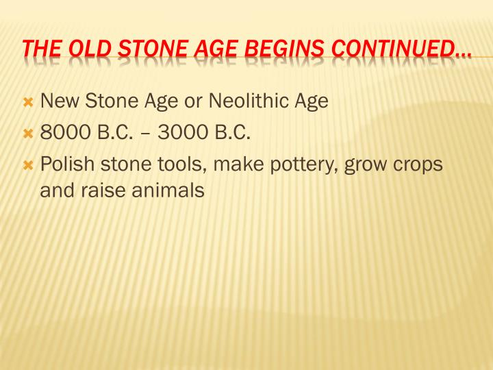 New Stone Age or Neolithic Age