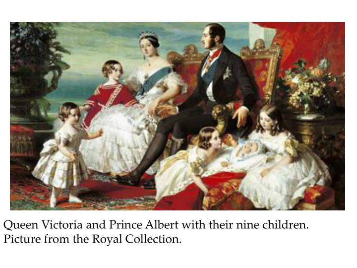 Queen Victoria and Prince Albert with their nine children.