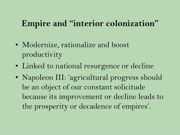 """Empire and """"interior colonization"""""""