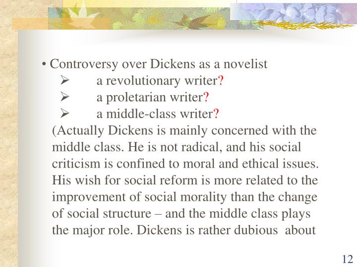 Controversy over Dickens as a novelist