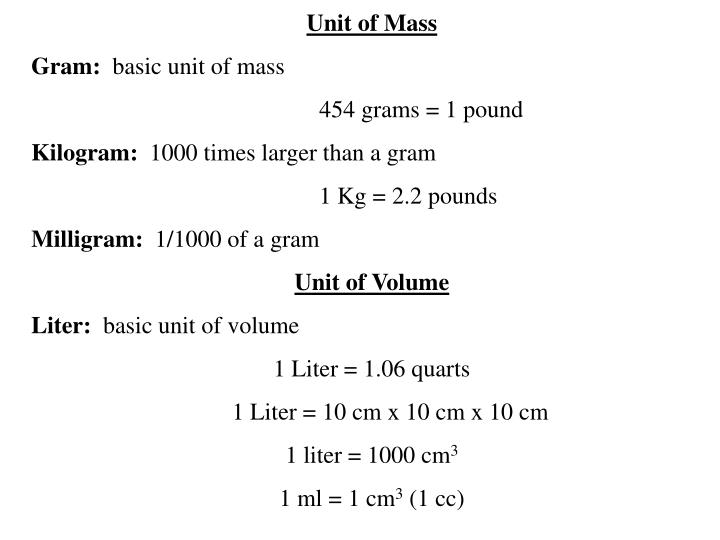 Unit of Mass