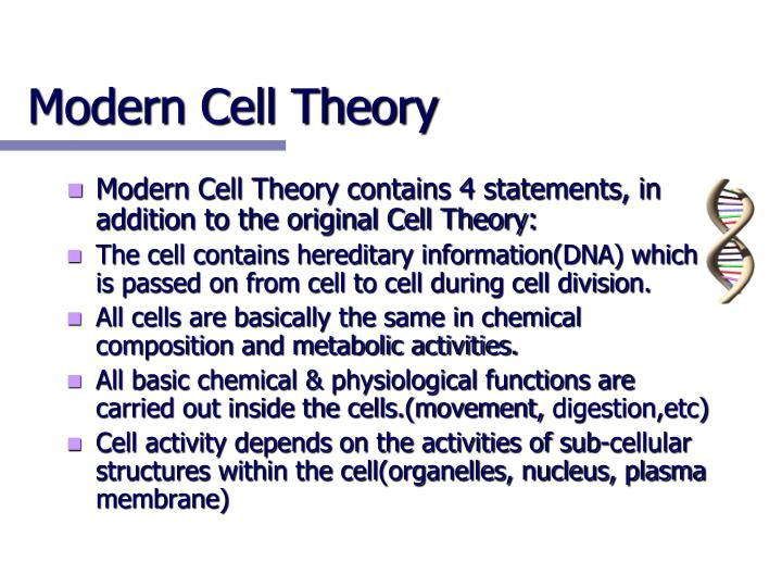 Modern Cell Theory