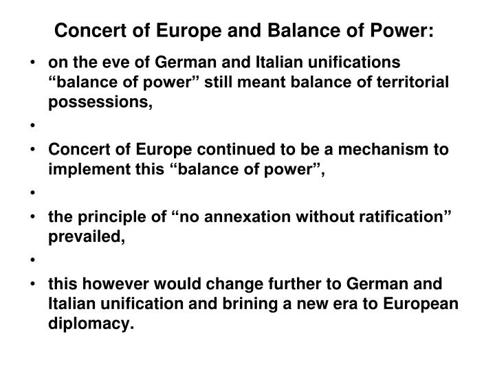 Concert of Europe and Balance of Power:
