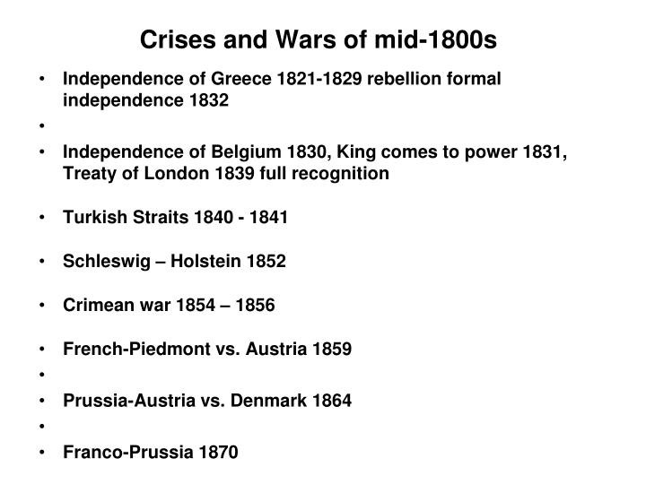Crises and Wars of mid-1800s