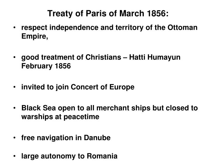 Treaty of Paris of March 1856: