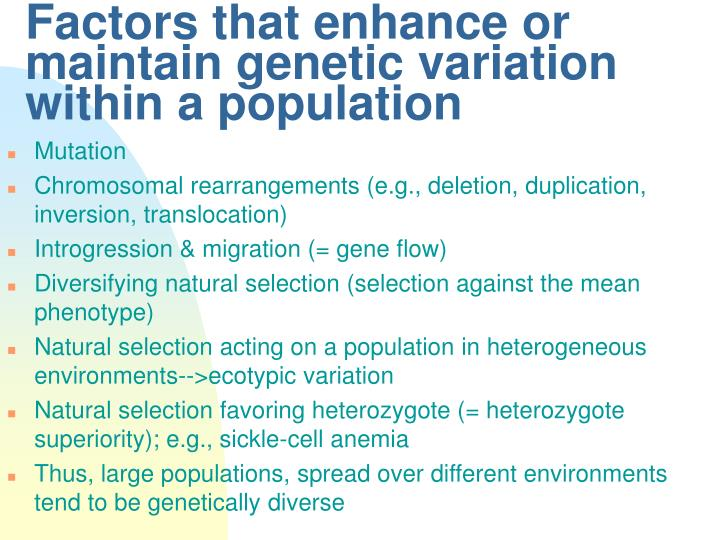 Factors that enhance or maintain genetic variation within a population