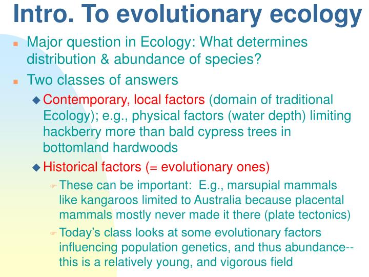 Intro to evolutionary ecology