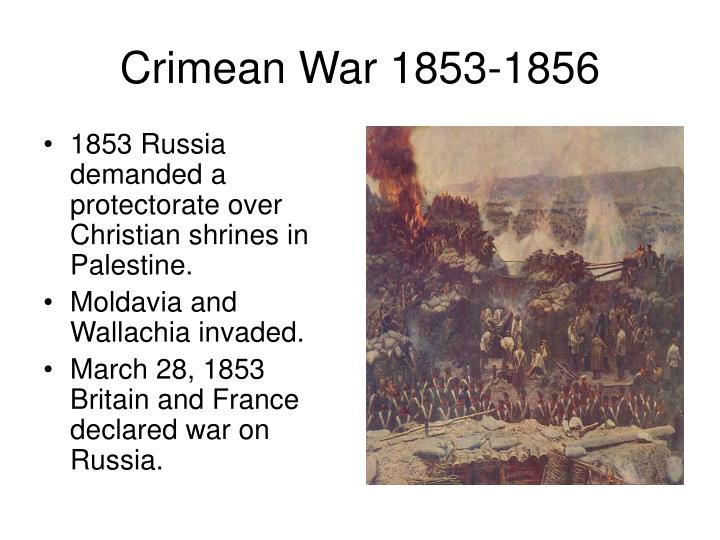 1853 Russia demanded a protectorate over Christian shrines in Palestine.