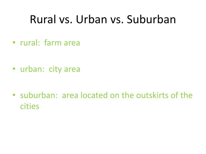 Rural vs. Urban vs. Suburban