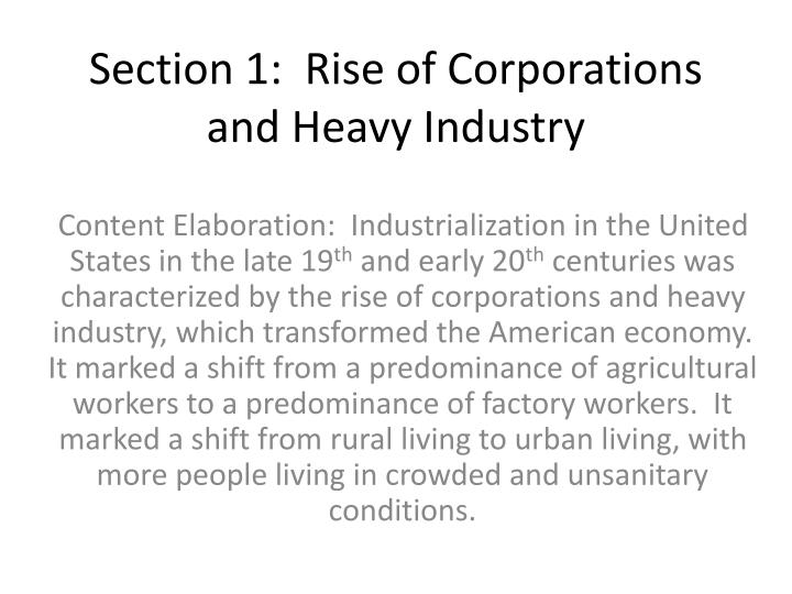 Section 1 rise of corporations and heavy industry