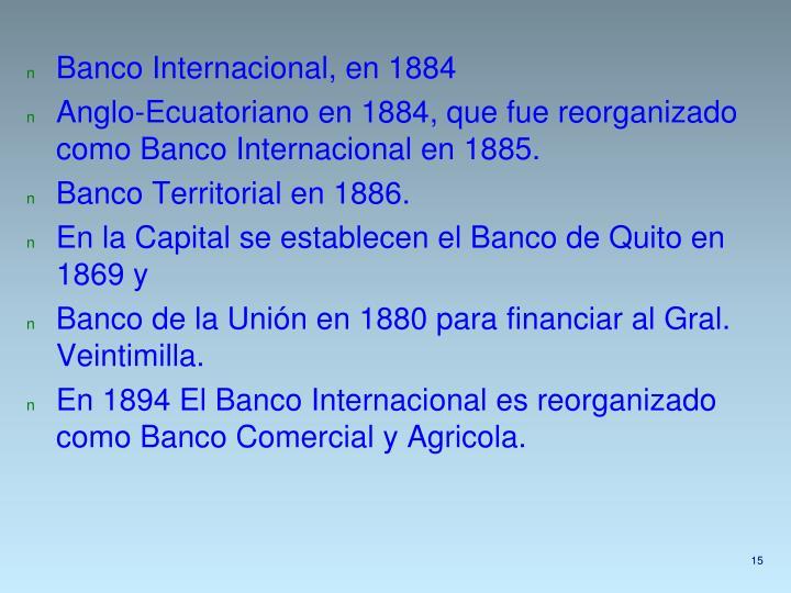 Banco Internacional, en 1884
