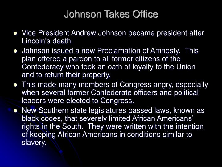 Johnson Takes Office
