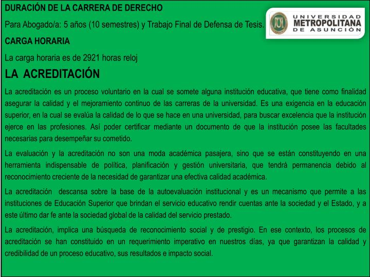 DURACIÓN DE LA CARRERA DE DERECHO