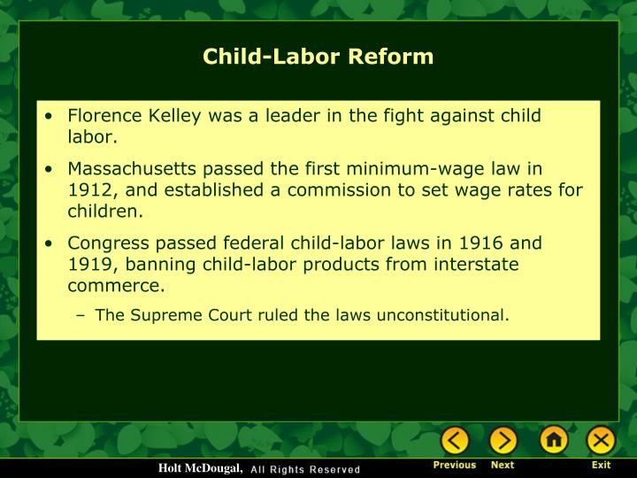 Florence Kelley was a leader in the fight against child labor.
