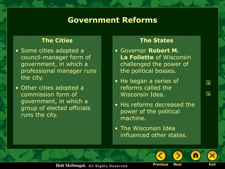 Government Reforms