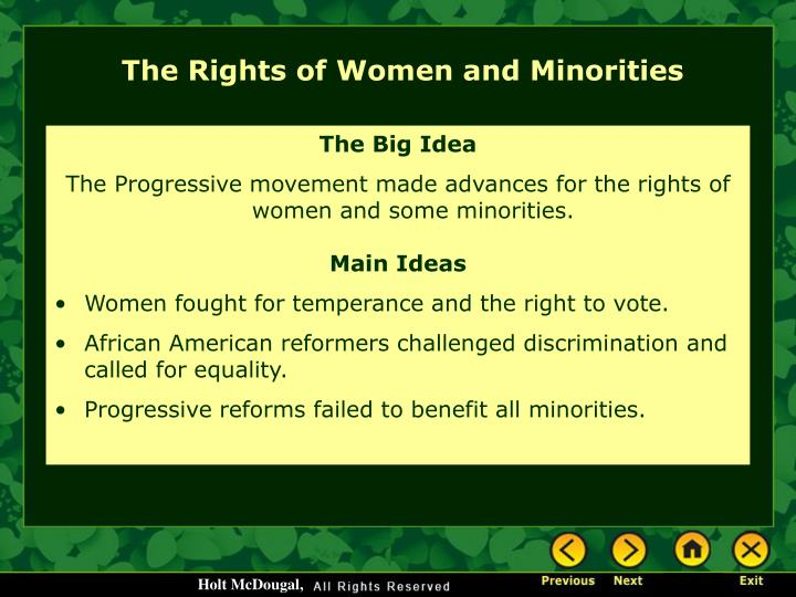 The Rights of Women and Minorities