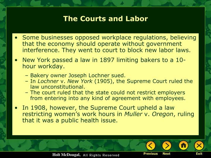 Some businesses opposed workplace regulations, believing that the economy should operate without government interference. They went to court to block new labor laws.